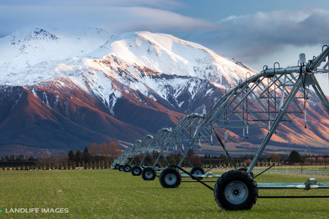 Center Pivot Irrigator in winter, Methven, New Zealand