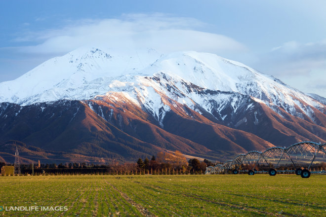 Centre pivot irrigator in winter, Methven, New Zealand