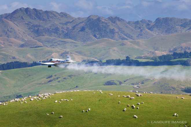 Aerial topdressing, North Canterbury, New Zealand