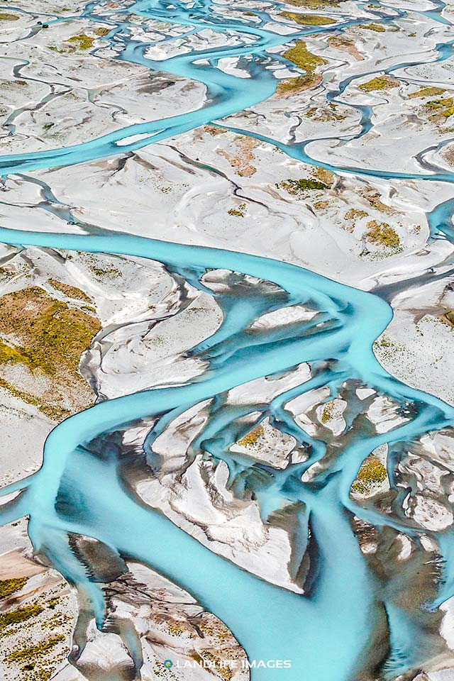 Aerial photography view of the Rakaia River
