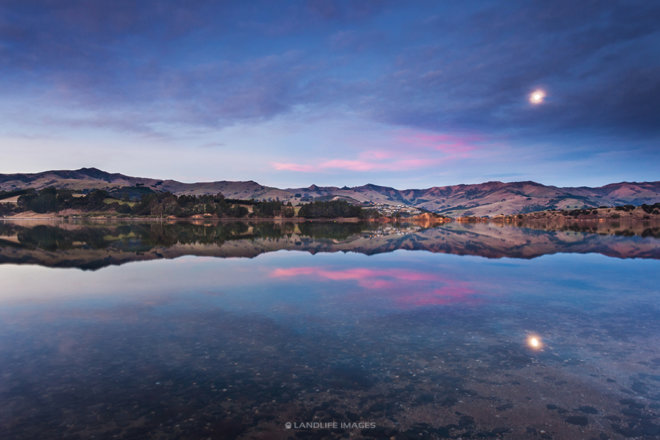 Barrys Bay Reflections, Banks Peninsula, New Zealand