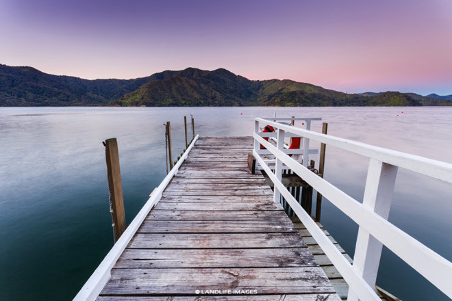 Marlborough Sounds Sunset Wharf Views, New Zealand