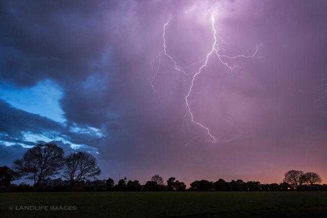 Lightning in Christchurch City October 11, 2017