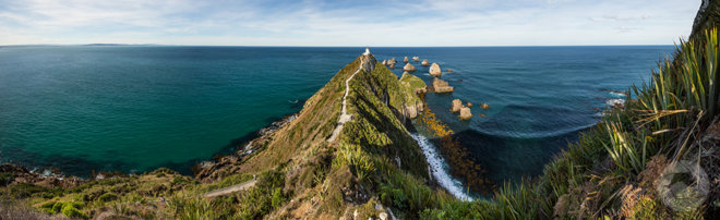 Nugget Point Lighthouse Panorama, Catlins, Southland, New Zealand