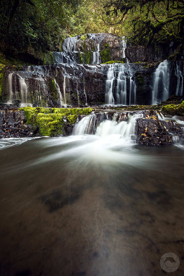 Purakaunui Falls, potrait, Catlins, Southland, New Zealand