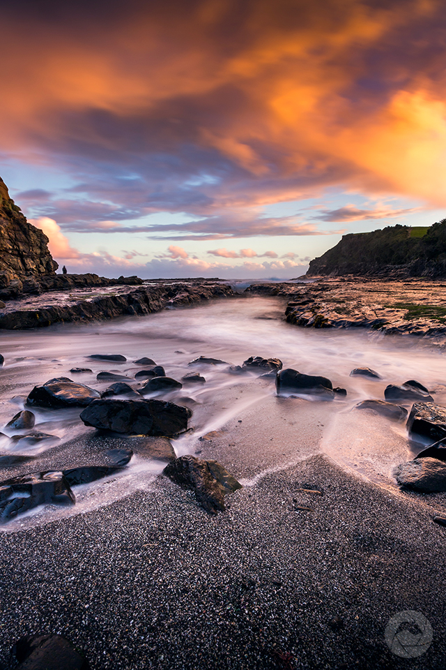 Curio Bay seascape at sunset, Catlins, Southland, New Zealand