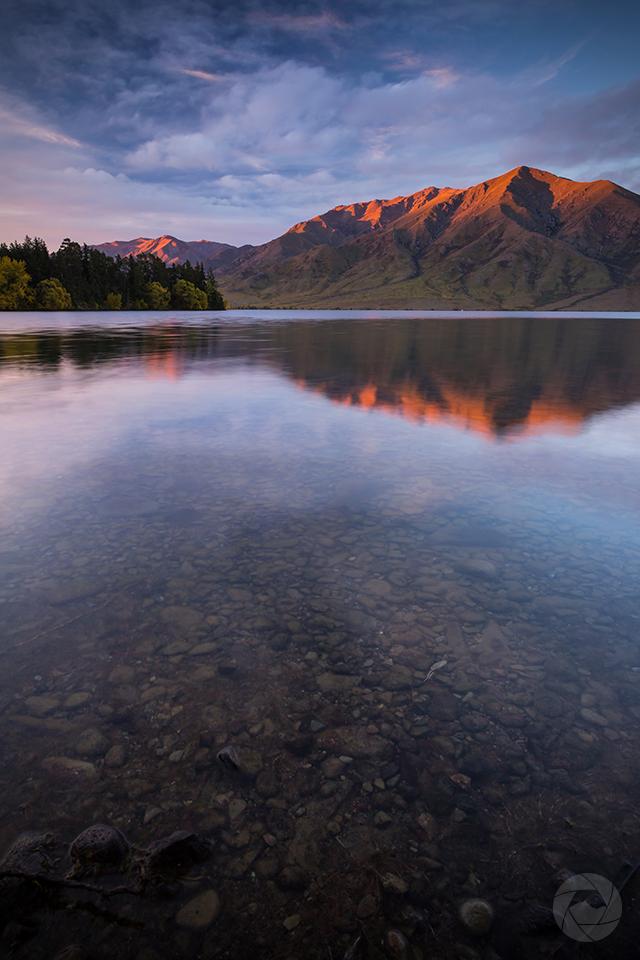 Lake Benmore reflections at sunset portrait, Canterbury, New Zealand