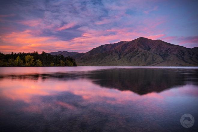 Lake Benmore reflections at sunset landscape, Canterbury, New Zealand