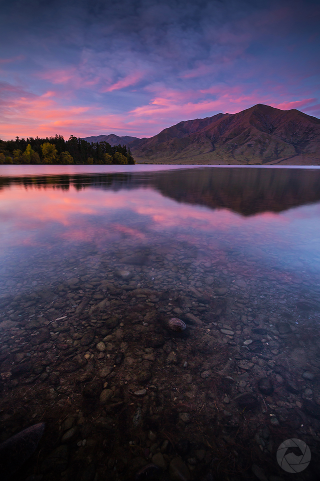 Lake Benmore reflections at sunset portrait, Canterbury, New Zealand