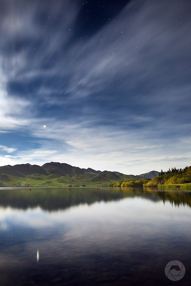 Lake Benmore reflections at night, Canterbury, New Zealand