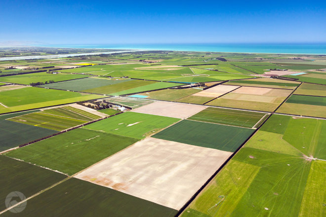 Aerial photography view of Mid-Canterbury farmland, looking towards the sea, New Zealand
