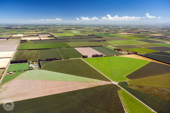 Aerial photography view of Mid-Canterbury farmland, New Zealand