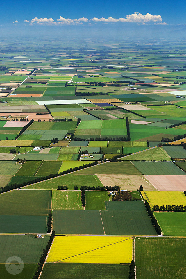 Aerial photography view of Mid-Canterbury farmland, New Zealand, portrait