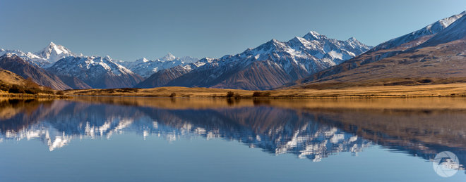 Panorama of Lake Clearwater Reflections, Canterbury, New Zealand