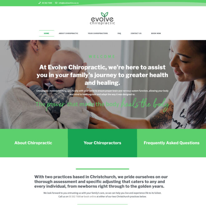 Evolve Chiropractic website design and photography throughout
