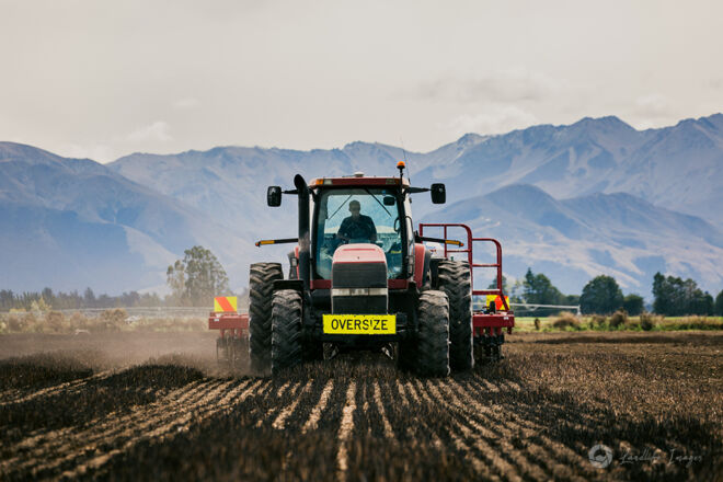 Drilling with mountain backdrop, Methven, Canterbury, New Zealand