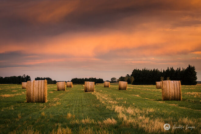 Haybales at sunset, Methven, Canterbury, New Zealand