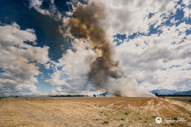 Controlled burnoff of wheat paddock, Canterbury, New Zealand