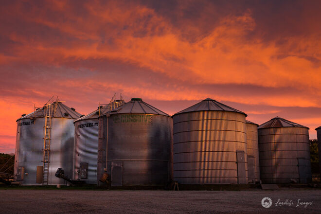 Silos at sunrise, Methven, Canterbury, New Zealand