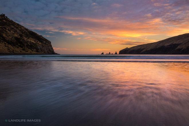 Decanter Bay Sunrise, Banks Peninsula, New Zealand