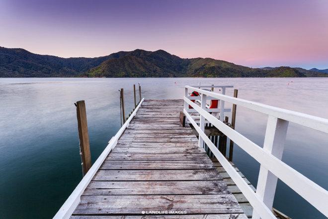 Marlborough Sounds Sunset Wharf Views, New Zealand