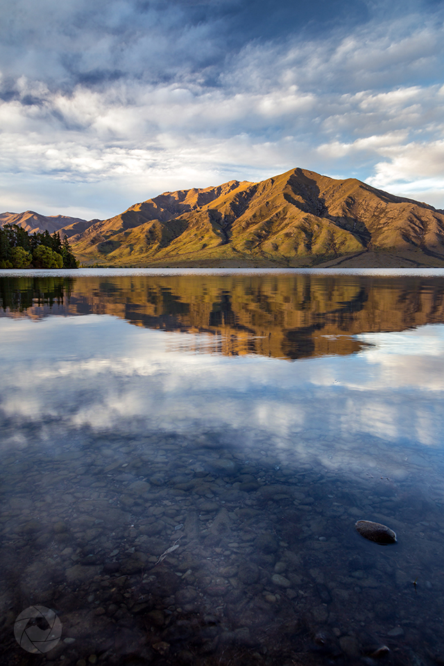 Lake Benmore reflections portrait, Canterbury, New Zealand