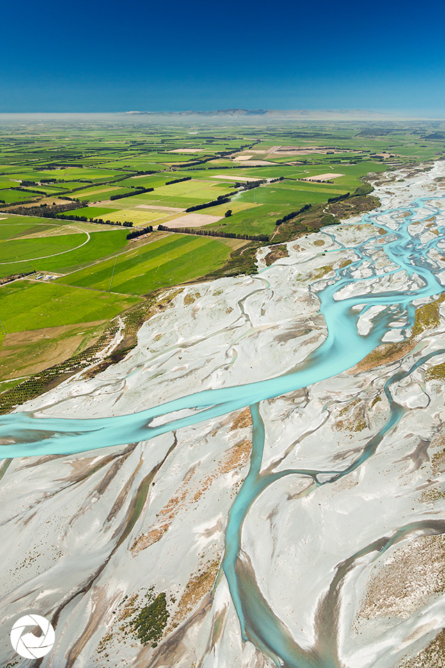 Aerial photography view of Mid-Canterbury farmland and the Rakaia River, New Zealand