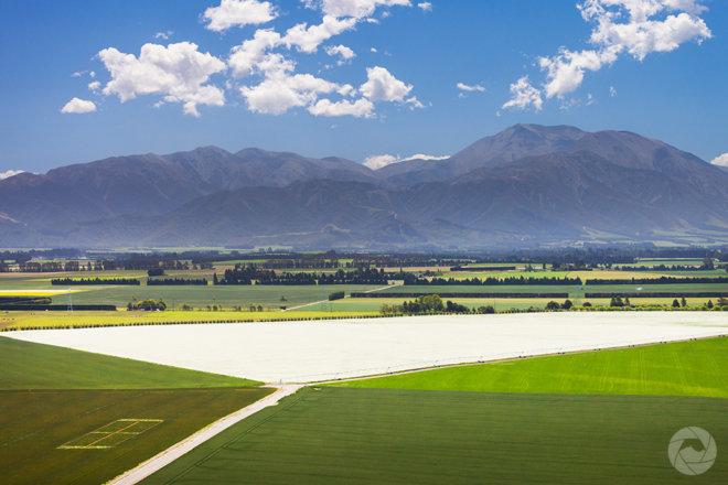 Aerial photography view of center pivot irrigator, Mid-Canterbury, New Zealand
