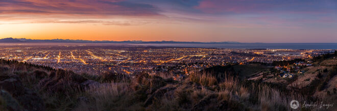 Christchurch at dusk in winter 2012 viewed from the Port Hills