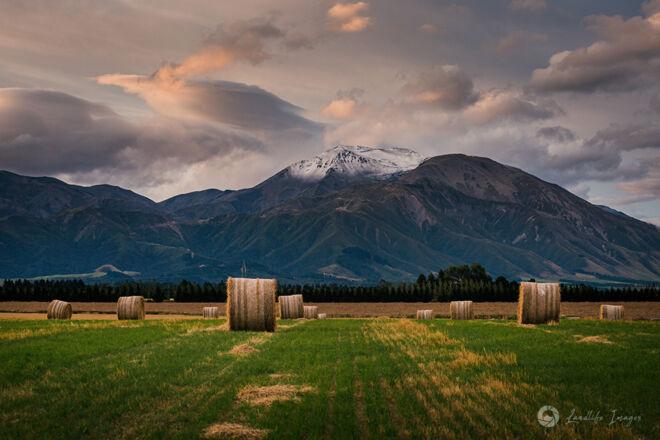 Haybales leading to Mt Hutt, Methven, Canterbury, New Zealand